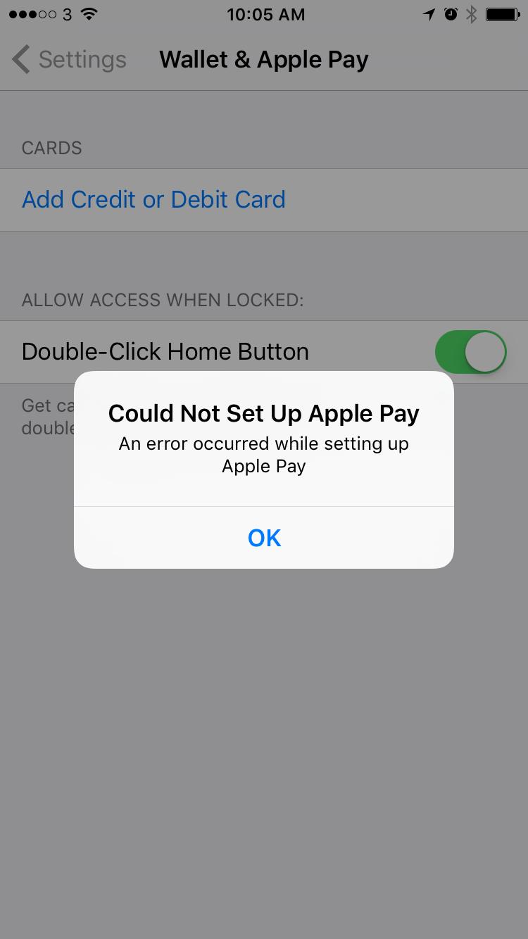 Ошибка настройки Apple Pay